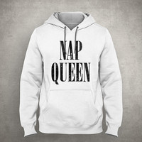 Nap queen - For napper - Gray/White Unisex Hoodie - HOODIE-014