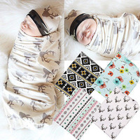 2Pcs/Set Swaddles+Headband! Baby Swaddle Wrap Muslin Blanket Girls Cotton Flower Aden Anais Nursery Cover AU