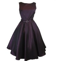 Elegant 60's Vintage Style Purple Satin Flare Swing Party Dress