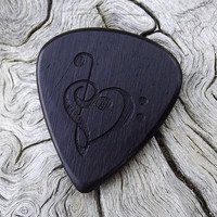 Handmade African Blackwood Premium Guitar Pick - Laser Engraved - Actual Pick Shown - Engraved Both Sides - Artisan Guitar Pick