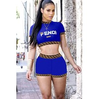 Fendi Tide brand women's letter printing sexy suit two-piece Blue