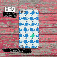 Whale Pattern Blue and Turquoise Cute Tumblr Inspired Ocean iPod Touch 4th Generation or iPod Touch 5th Generation Rubber or Plastic Case