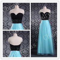 A-Line 2014 Sweetheart Beads Organza Floor-length Sequins Long Bridesmaid Dress Party Dress Evening Dress Prom Dress Formal Dress 2014