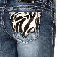 Miss Me Pony Pattern Cowhide Patch With Hand Stitch Skinny Jean
