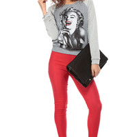Grey Marylin Monroe Two Toned Sweater