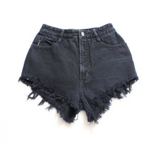 Custom Made BLACK Destroyed Frayed Distress  Daisy Dukes  High Waist Shorts S M L