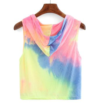 Women top Vest rainbow color Fashion Sexy Print Hooded summer tops Sleeveless Vest cropped