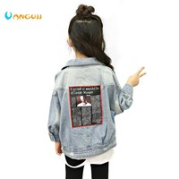 Trendy girl's  jacket, kids denim jacket4-13 year old spring coat fashion Back patch printing leisure children's outwear Washed hole AT_94_13