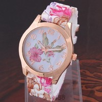 Hot Fashion Printed Flower Casual Silicone Dress Watch For Ladies Women