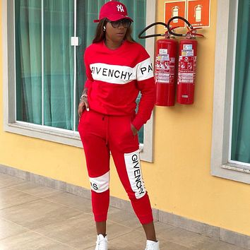 Givenchy Fashion Women Casual Print Sweater Pants Set Two-Piece Sportswear red