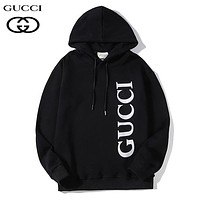GUCCI Autumn And Winter Fashion New Letter Print Hooded Long Sleeve Sweater Top Black