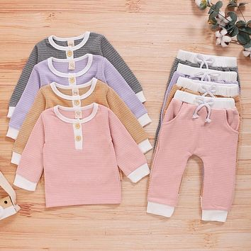 Winter Knitted Baby Girl Clothes Outfits 2Piece Long Sleeve Tops Tee+trousers Infant Suit Toddler Fall Clothing for Boy Girl D30