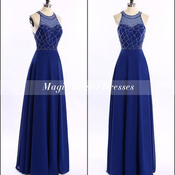 Fall 2015 Fashion Designer Beading Prom Dresses Graceful Scoop Floor-length A-line Long Prom Dress Royal Blue Women Formal Dresses