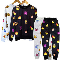 2015 Men Women EMOJI Print Funny Autumn Sweatshirt Tops 3D Jogger Pants Set S-XL