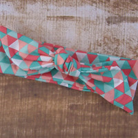 Top Knot Riley Blake Teal Coral and White Fabric Headband Head Tie Head Wrap
