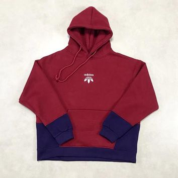 """""""Adidas"""" Unisex Personality Stitching Multicolor Hooded Long Sleeve Oversize Sweater Couple Thickened Sweatshirt Hoodie Tops"""
