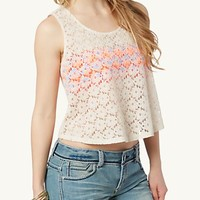 Neon Embroidered Lace Crop Top