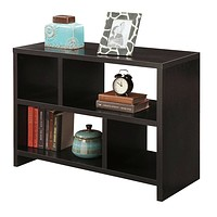 Modern 2-Shelf Bookcase Console Table in Espresso Black Wood Finish