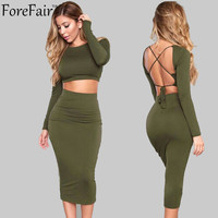 2016 two piece set backless bandage autumn winter dress long sleeve cotton warm midi sexy party bodycon dress for women