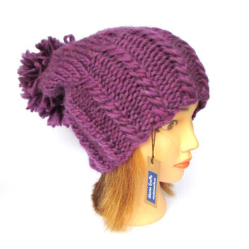Slouchy beanie hat with pom pom - dark purple slouch hat with large fluffy pompom - warm wool beanie hat for her - Christmas gift for women
