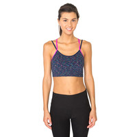 RBX Active Striated Pattern Seamless Workout Bra with Wide X-Back Straps and Removable Cups