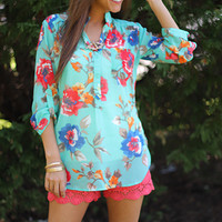 Floral Paradise Top, teal