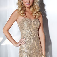 Short Strapless Gold Prom Dress