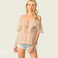 Ruffle Trim Tie Front Pleated Cami Mesh Top Apricot Spaghetti Strap Blouse Solid Romantic Women Blouses