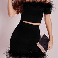 Black Off The Shoulder Crop Top With Skirt