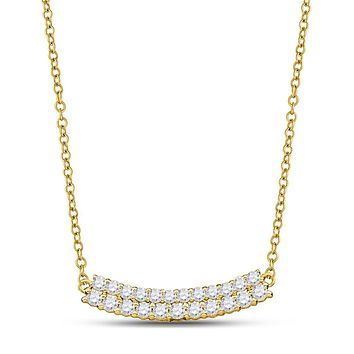 14k Yellow Gold Diamond Bar Pendant Necklace 1 Cttw