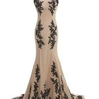Sunvary Champagne and Black Mermaid Mother of the Bride Dress Chiffon - US Size 16- Champagne and Black