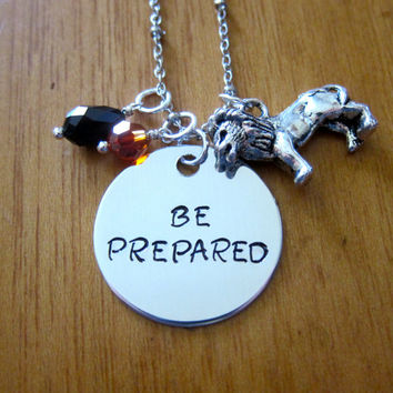 """Disney's """"Lion King"""" Inspired Necklace. Villain Scar. Quote """"Be Prepared"""". Silver colored, Swarovski crystals, for women or girls."""