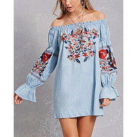 off the shoulder embroidered dress - more colors