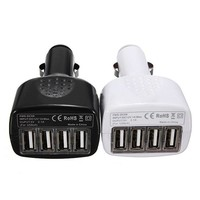 4 Ports USB Car Charger Adapter For iPhone 5 4 4S iPad Cell Phones DC 5V 2.1A