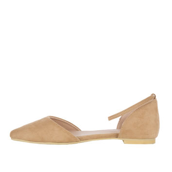 Open Side Ankle Strap Flats | MIXXMIX
