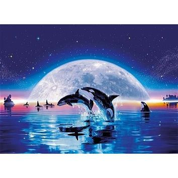 5D Diamond Painting Orca Whales in the moonlight kit