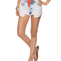 High-Waisted Acid Wash Denim Cutoffs