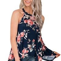 Flowing sleeveless tank top with floral print - Plus size available