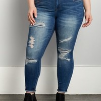 Plus Destroyed & Stitched Jegging