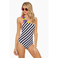 Arianna Embellished One Shoulder One Piece Swimsuit - Black & White Stripes Print