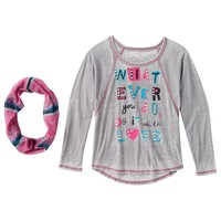 Self Esteem Graphic Print High-Low Top & Infinity Scarf - Girls' Plus, Size:
