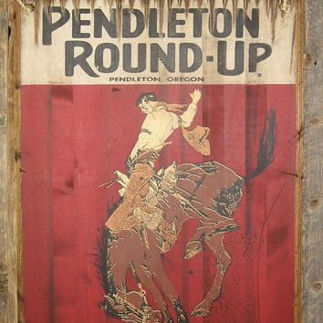 Pendleton Round-Up Rodeo, Western, Antiqued, Wooden, Rodeo Sign