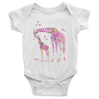 Pink Giraffe baby Onesuit Baby Bodysuit with pink giraffe print American Apparel Infant Baby Rib Short Sleeve One Piece Onesuit baby clothing