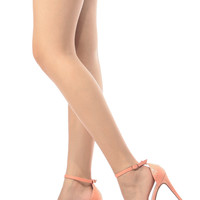 Salmon Faux Snake Skin Ankle Strap Single Sole Heels