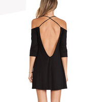 Black Low Back Mini Dress
