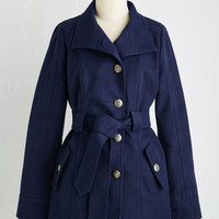Military Long Sleeve Field Commentator Coat in Navy