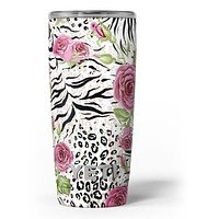 Animal Vibe Floral - Skin Decal Vinyl Wrap Kit compatible with the Yeti Rambler Cooler Tumbler Cups