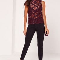 Missguided - Lace High Neck Vest Top Burgundy