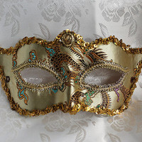 Champagne Brocade and Leather Masquerade Mask with Gold Trim
