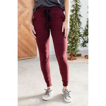 Grace & Lace Snow Day Joggers - Heathered Wine